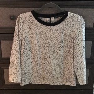 Black & White Patterned Rose & Olive blouse Small